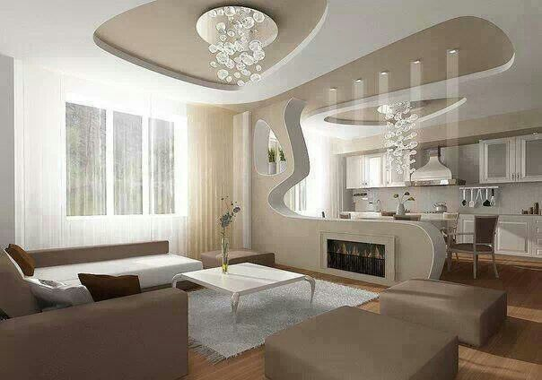 Living Room With American Kitchen Interior Design Ceiling Design