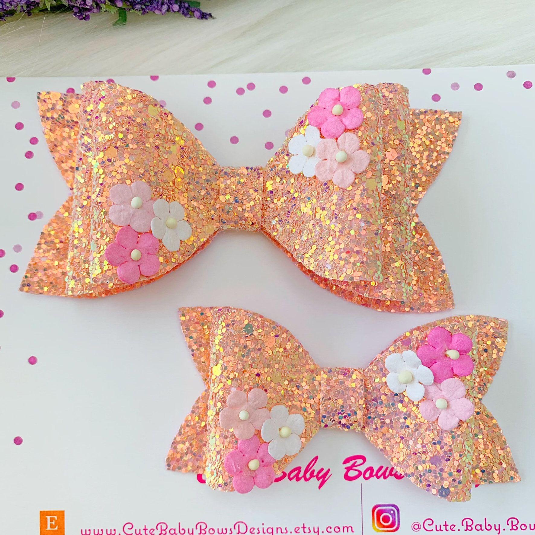 Girls Handmade 2 baby//toddler small my 1st Christmas Glitter Hair Bow clips