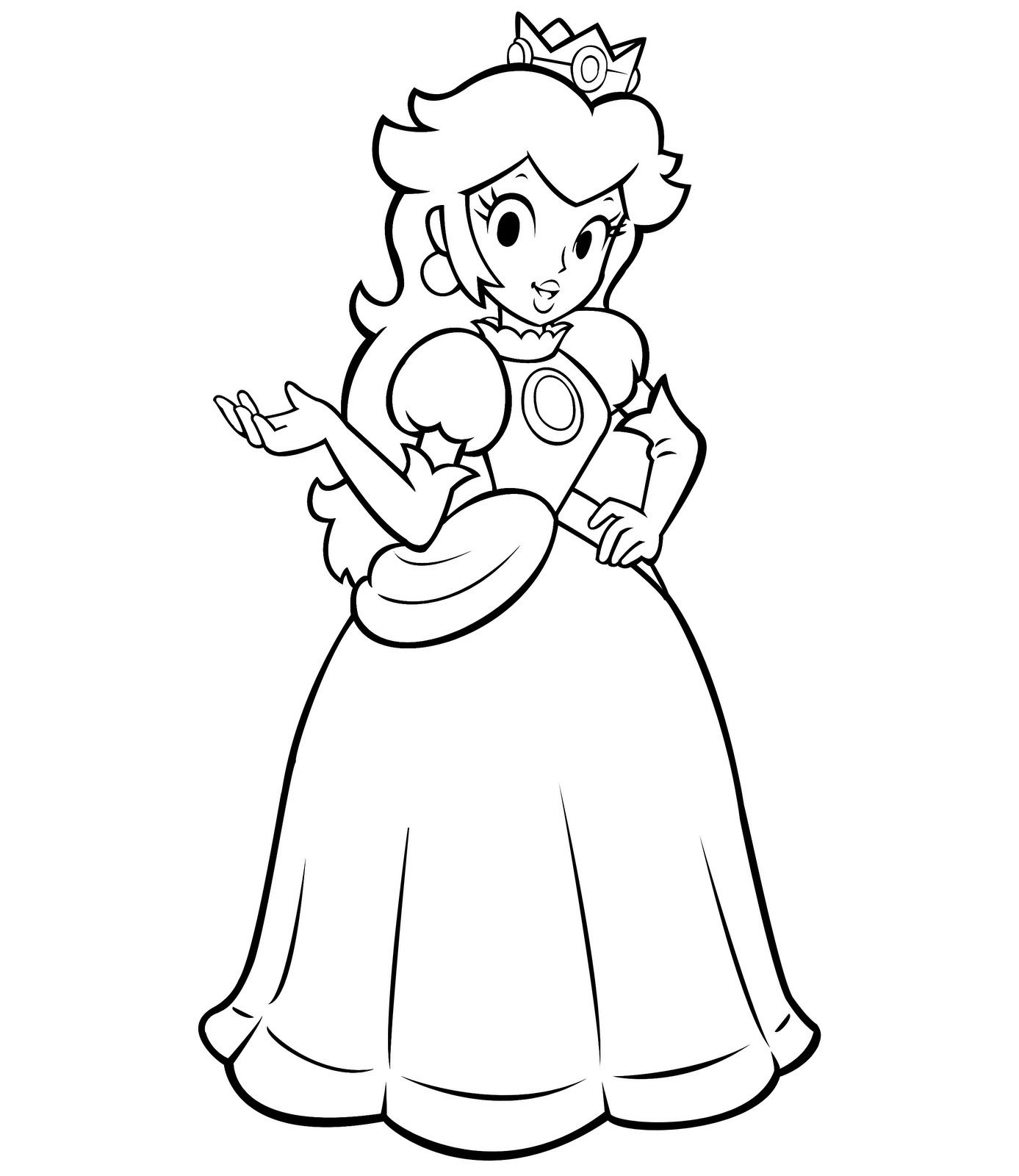 Free Princess Peach Coloring Pages For Kids Princess Coloring