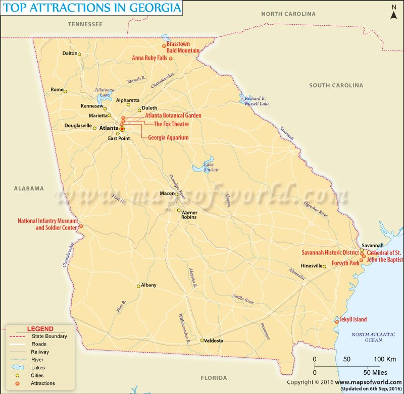 Georgia On Usa Map.Map Showing Major Attractions In Georgia Usa Travel Maps