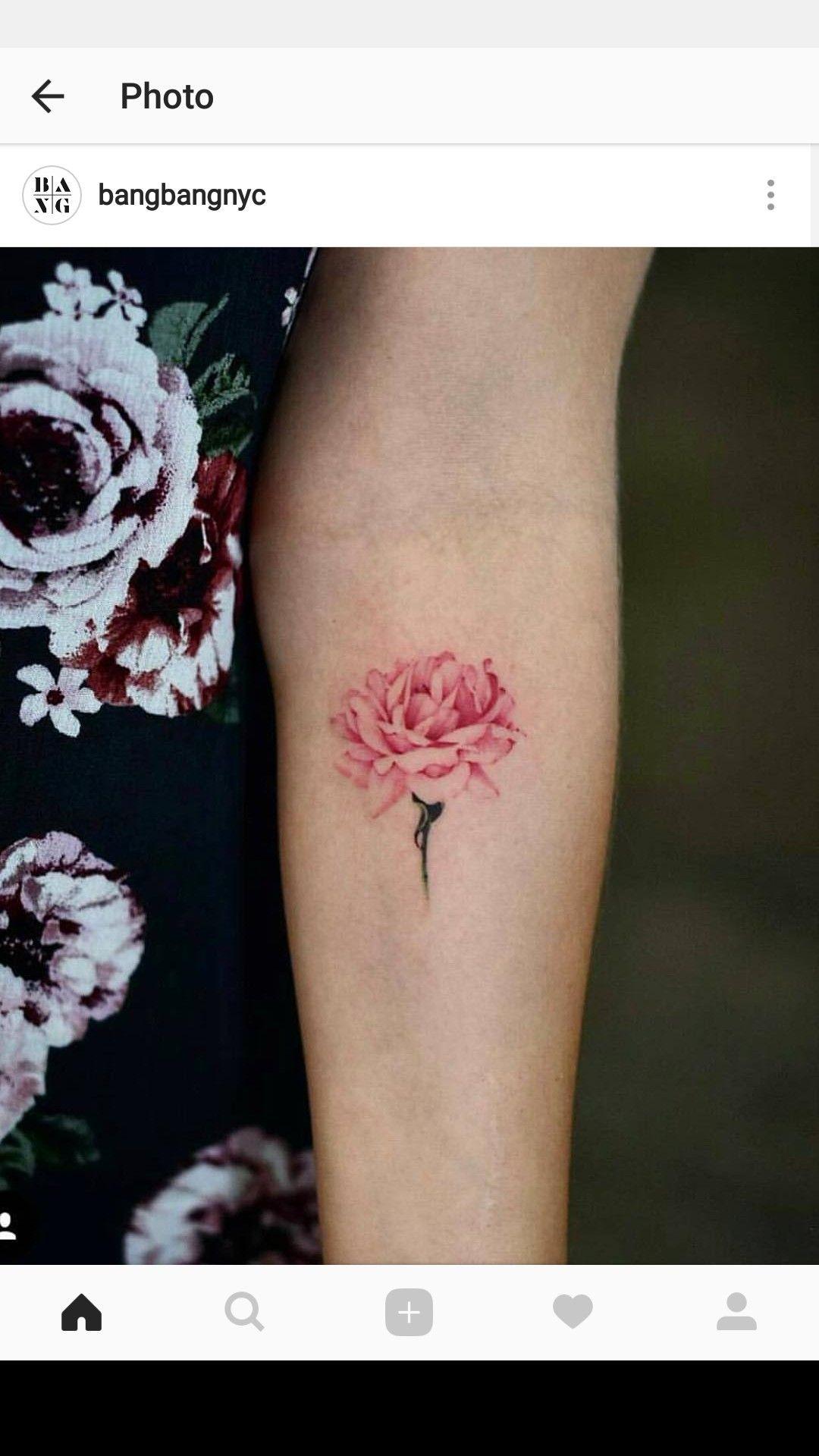 Watercolor Pink Flower Tattoo Chic Minimalist Tattoos Pinterest