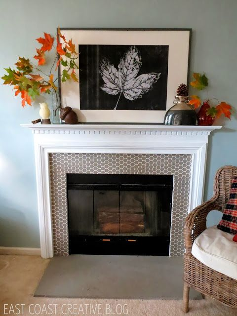 Fall Mantel Using A Staples Engineer Print From East Coast