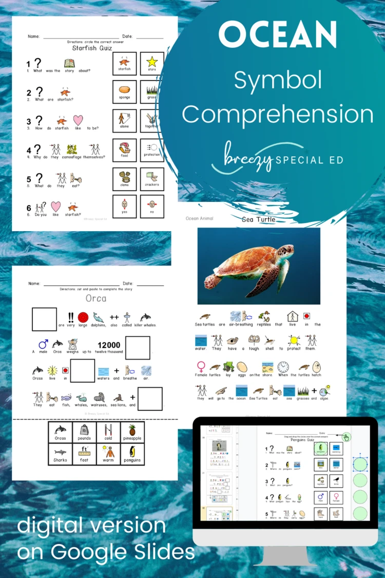 Ocean Animals Symbol Supported Reading Comprehension For Special Ed Life Skills Classroom Life Skills Special Education Teaching Life Skills [ 1125 x 750 Pixel ]
