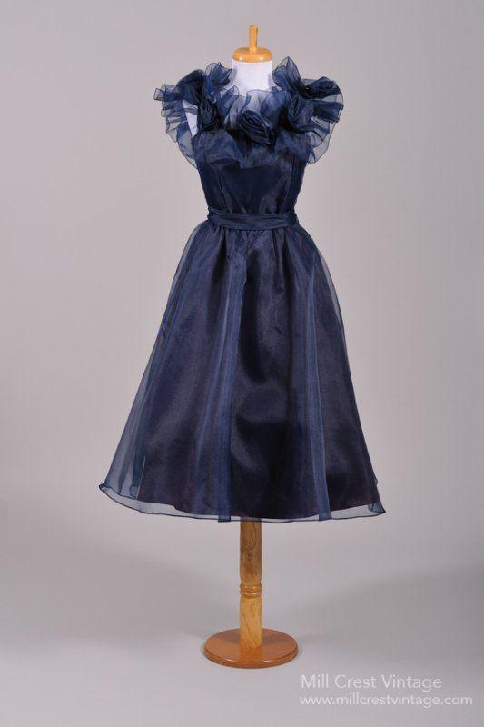 1970's Midnight Blue Chiffon Vintage Party Dress