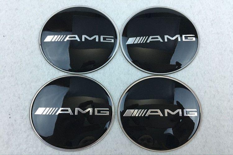 4Pcs 65mm Car Wheel Center Hub Caps emblem sticker for Mercedes Benz AMG Black|AMG HUBCAP DECAL