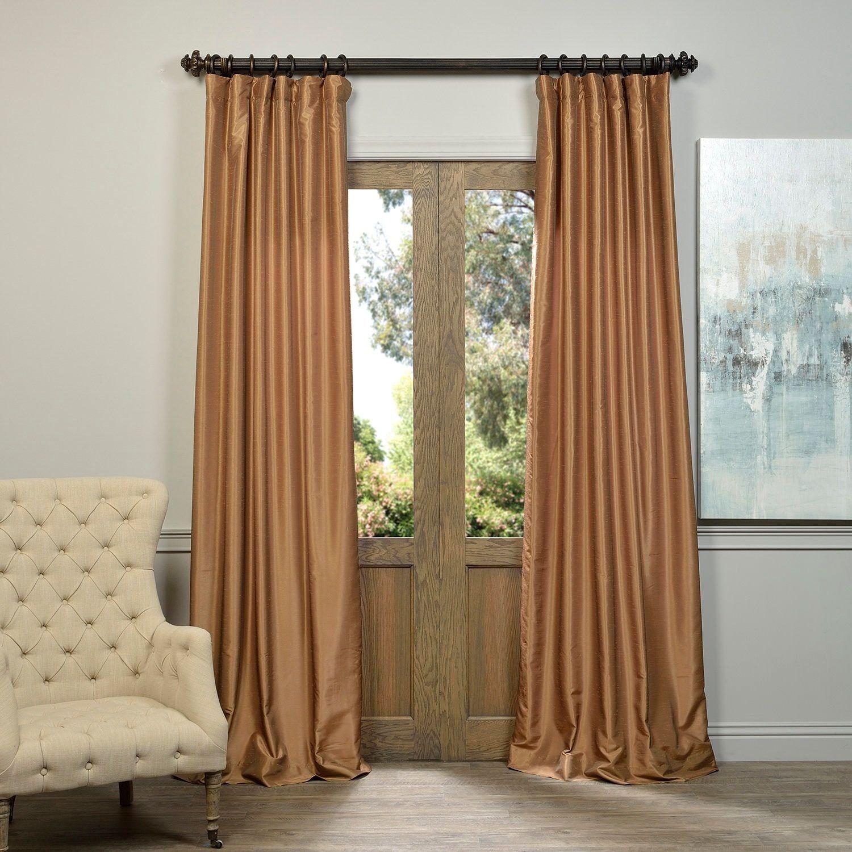 Exclusive Fabrics Flax Gold Vintage Faux Textured Dupioni Silk