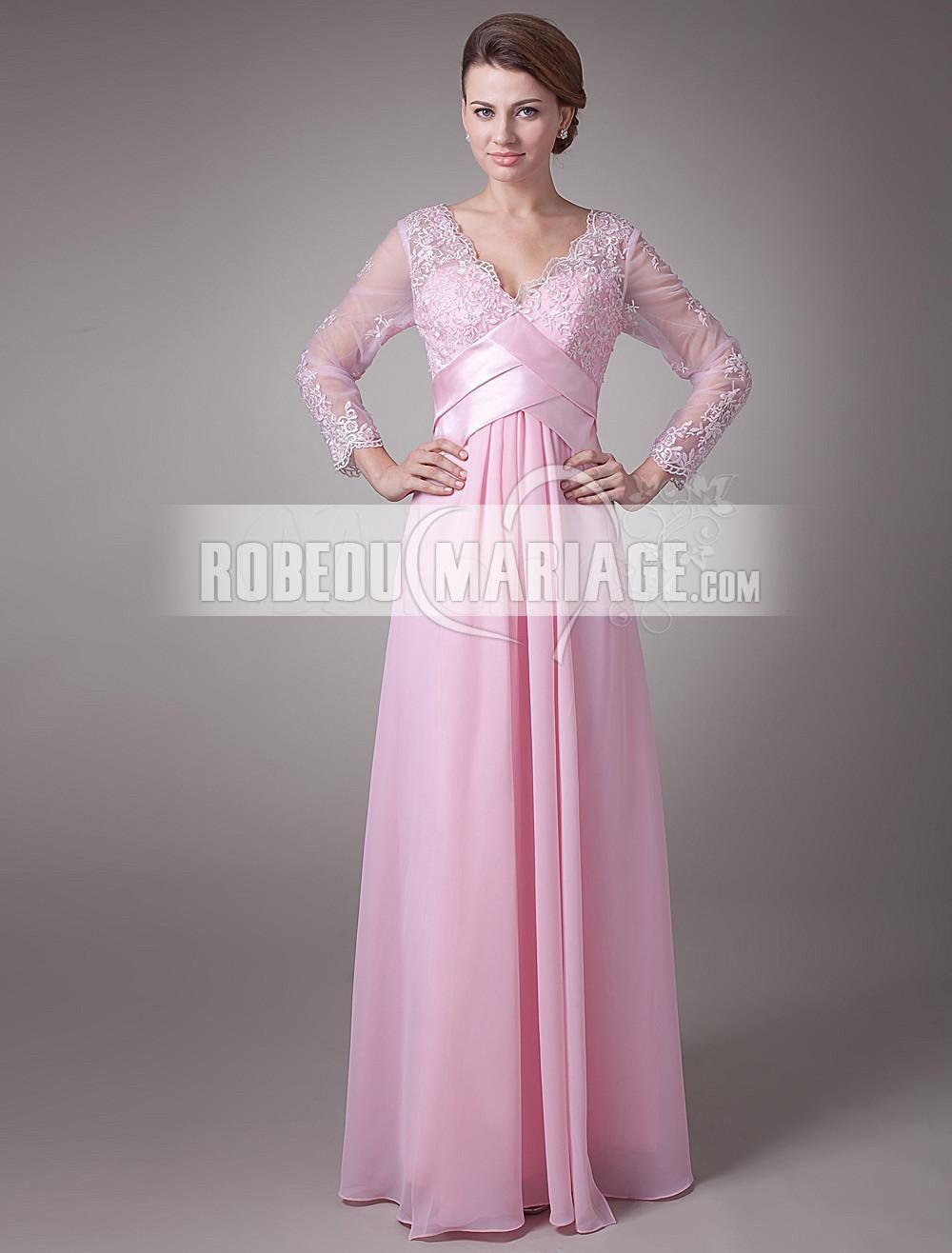 Manches longues robe emoiselle d\'honneur en satin avec un col en V ...