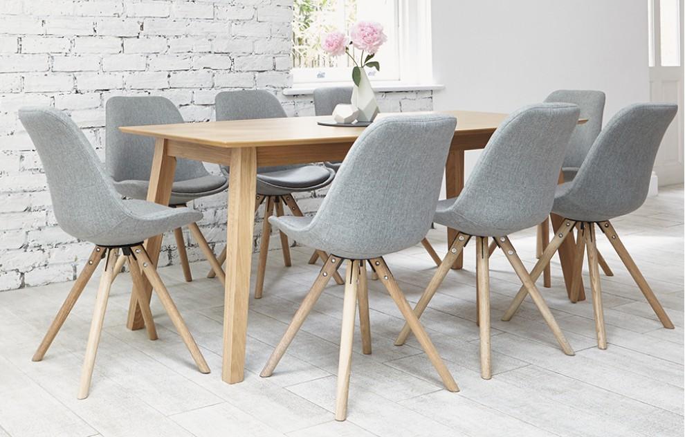 Orson Dining Set 8 Seats Grey Oak Dining Sets Family Dining Rooms Dining Room Design