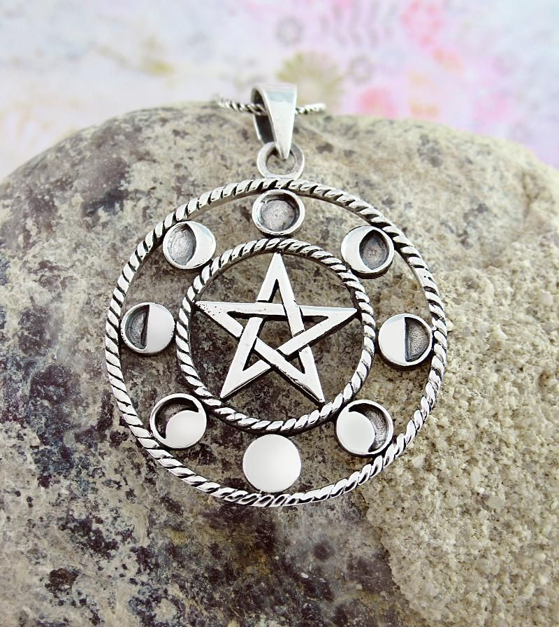 Statement Jewelry Vintage Silver Pewter Necklace 9 Inch Pendant Love Witch Gothic