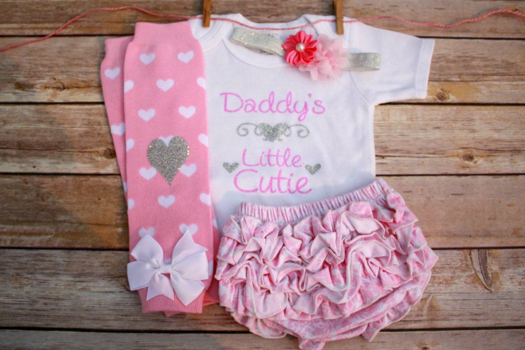 1d05741cd0b9 Newborn Baby Girl Clothes  Daddy s Little Cutie 4 Piece Outfit ...