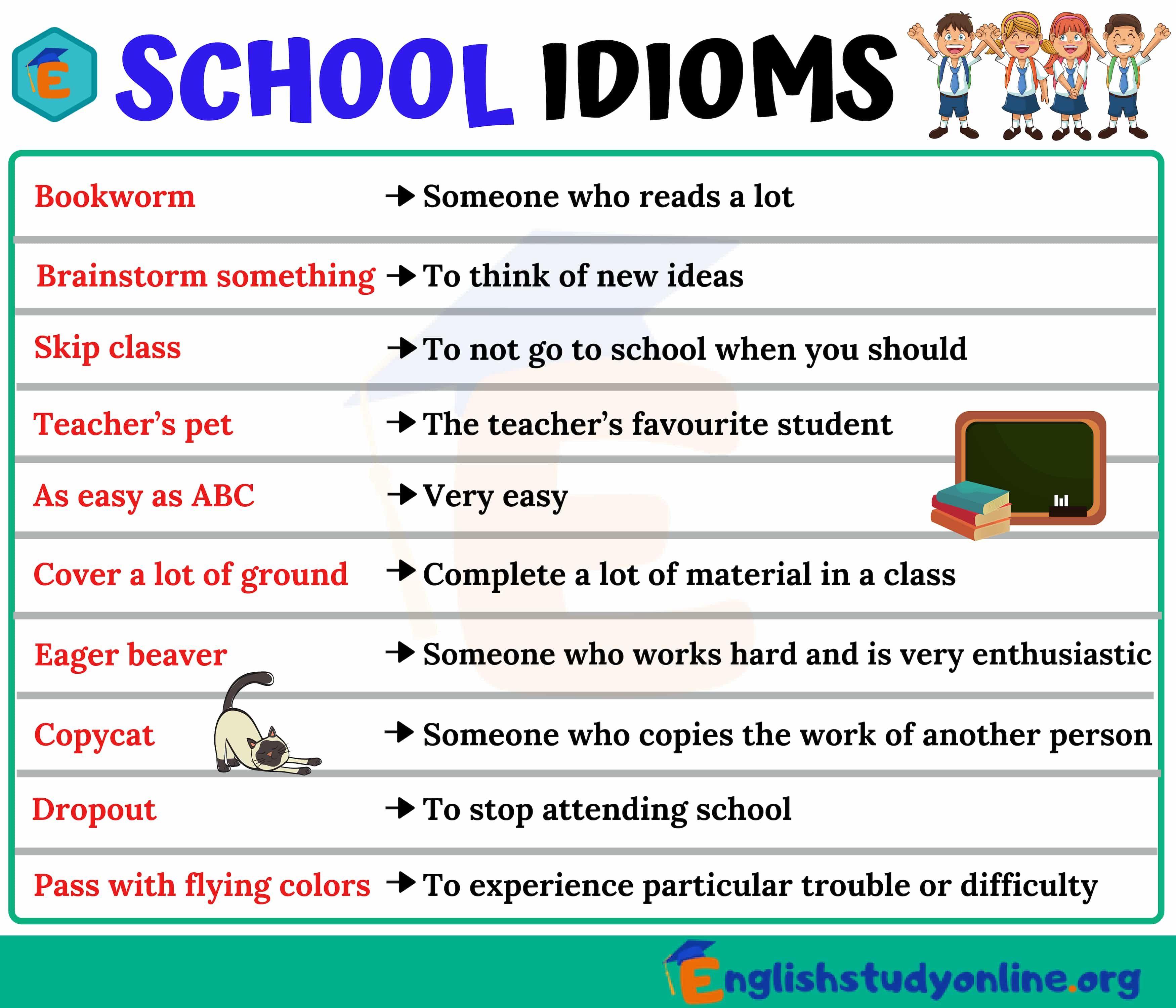 School Idioms Idioms Teacher Favorite Things English Study [ 3000 x 3500 Pixel ]