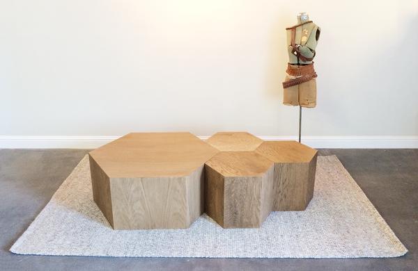 Hexagon Wood Modern Geometric Table Oak In 2019 Hexagon