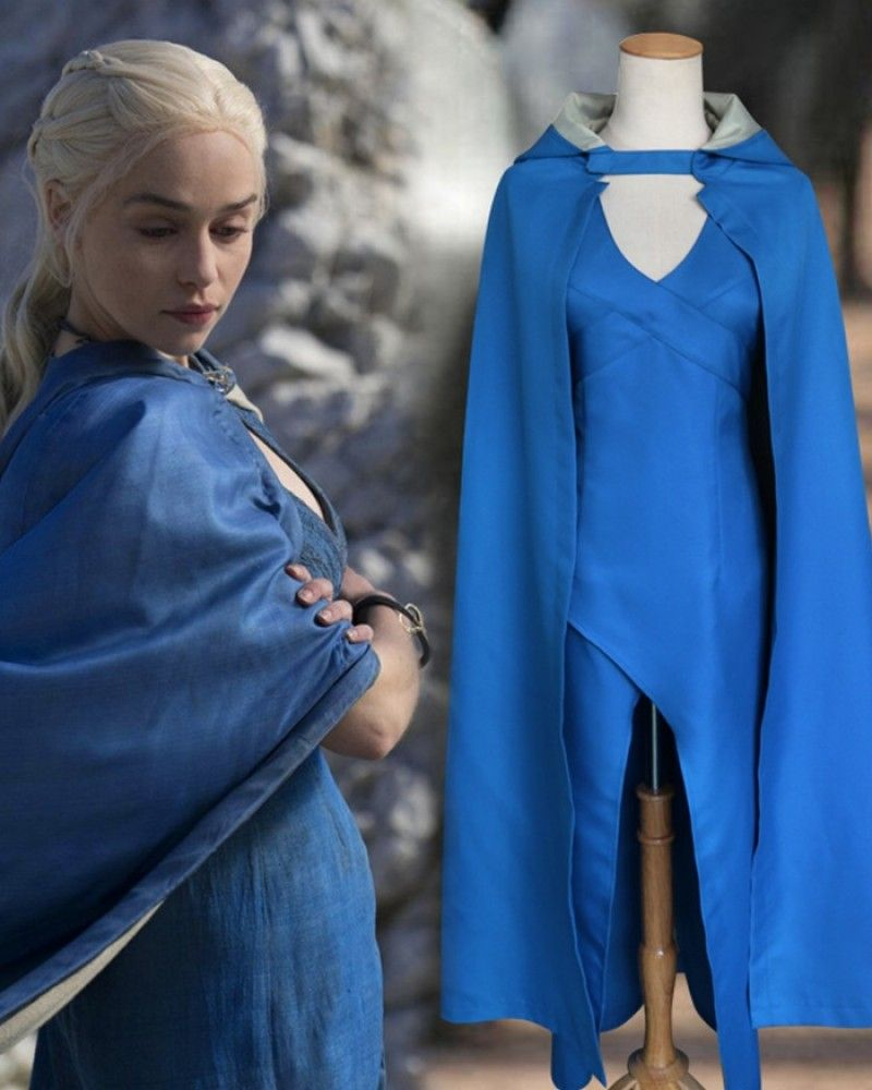 Game of Thrones Season 7 Daenerys Targaryen Cosplay Costume Light Blue Cape New