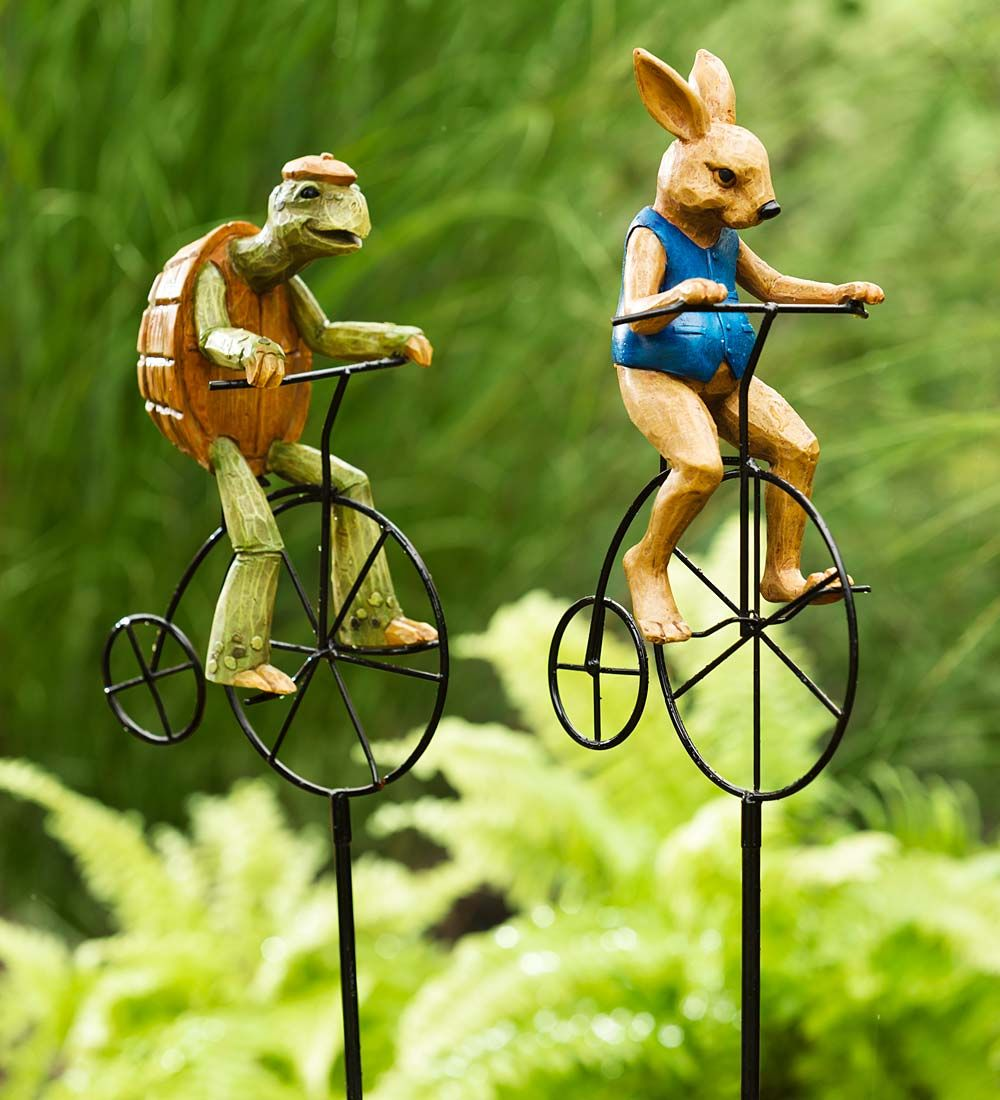Tortoise And Hare Garden Statues Bicycle Race Lawn Art Yard Outdoor Decor