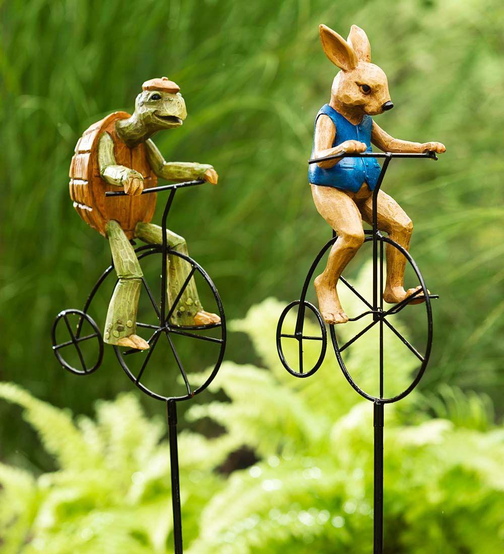 Bike Riding Animal Garden Statue   Garden Statuary