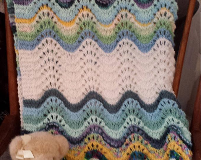 Organic Baby Blanket Heirloom Quality Feather And Fan Lace Hand