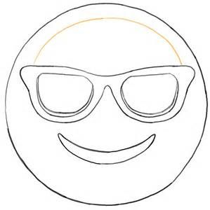 Sunglass Emoji Faces Coloring Pages sketch template