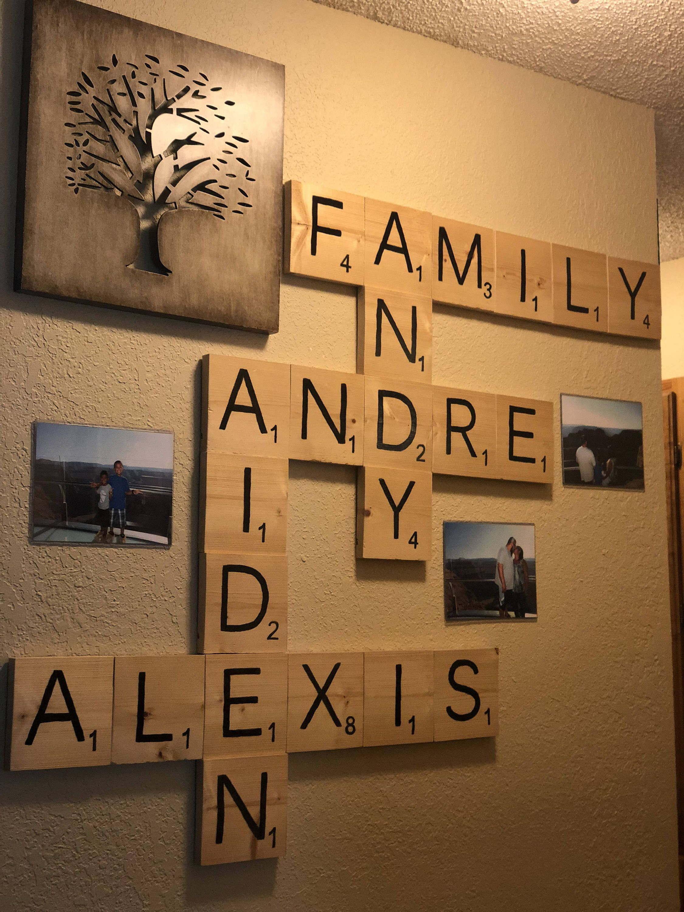 homemade personalized scrabble wall decor by 4trendyideas on etsy