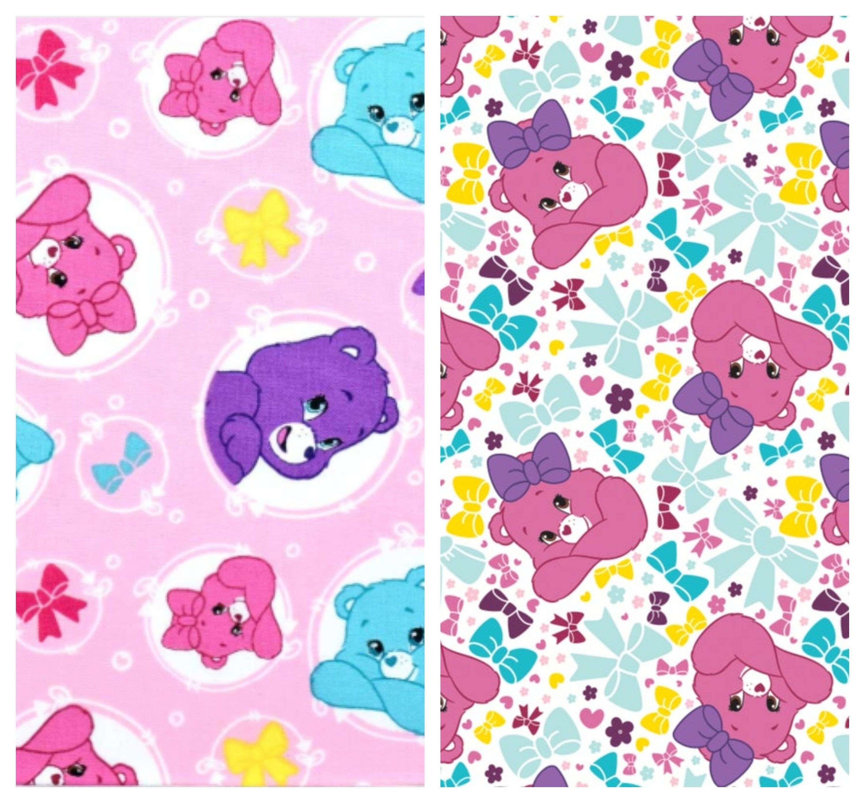 Care Bears Fabric by the Yard - Sparkle and Shine White Pretty Bow