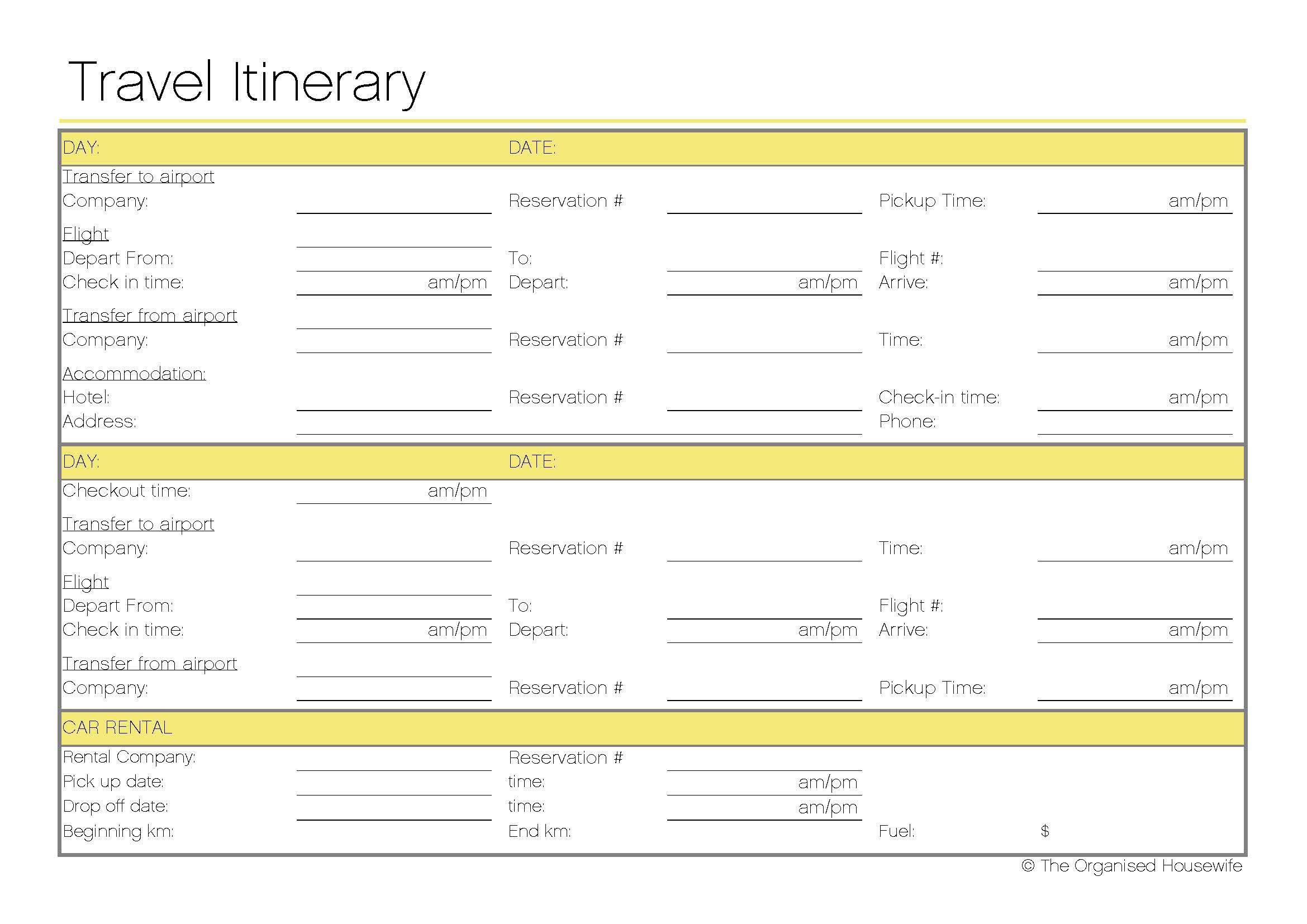 Travel Itinerary Travel itinerary template, Travel