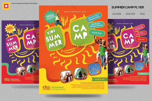kids summer camp flyer by satgur design studio on