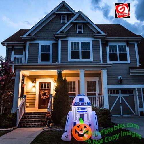 Gemmy Airblown Inflatable 5\u0027 R2D2 With Pumpkin Halloween Pinterest - outdoor inflatable halloween decorations