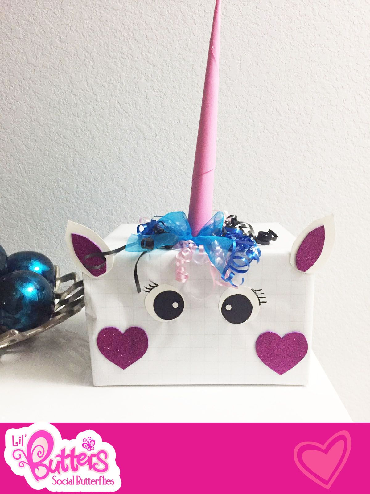 Cute And Little Unicorn Valentine Card Box For Girls