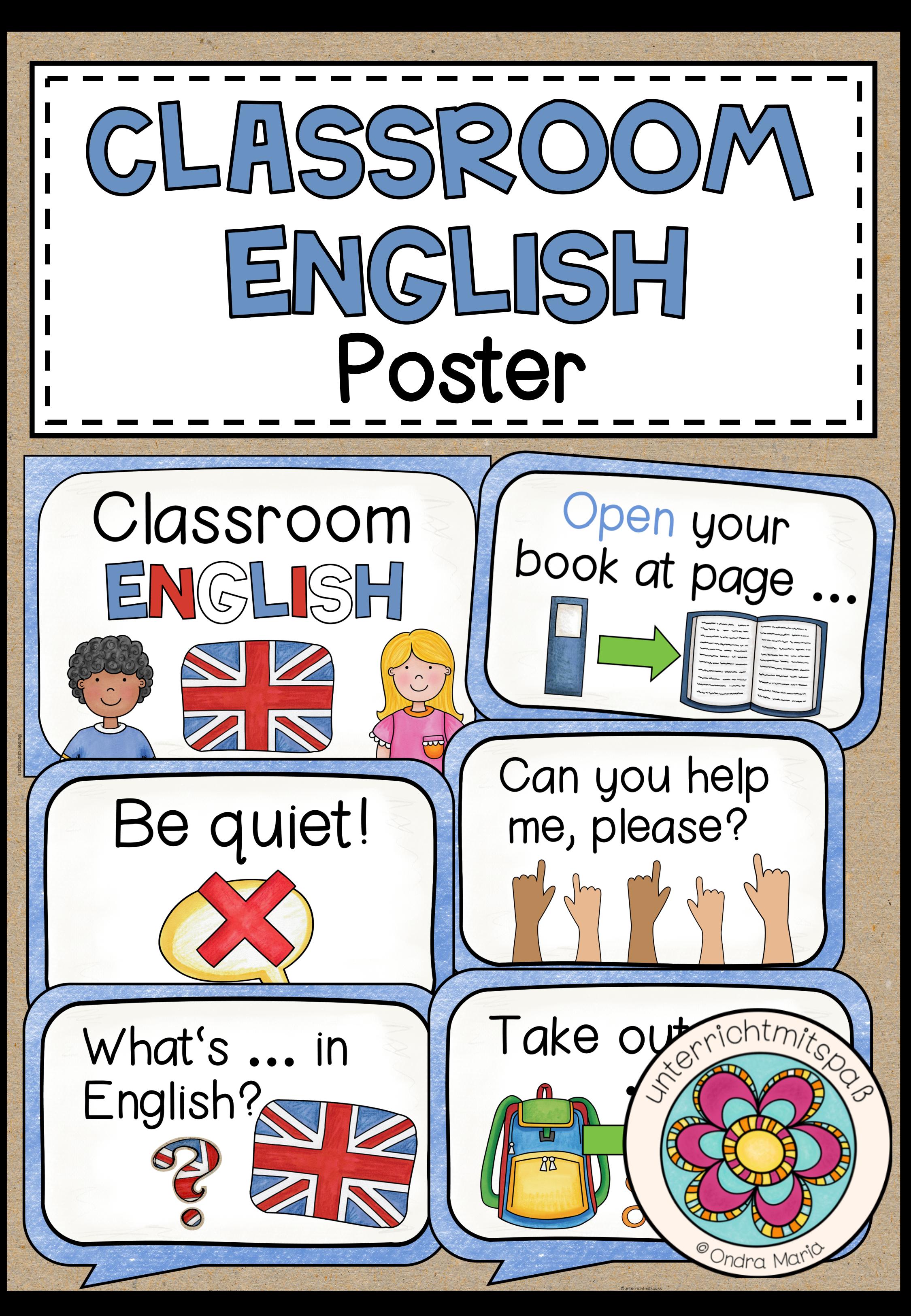 English Classroom Language Poster Unterrichtsmaterial Im Fach Englisch Englischunterricht Grundschule Englisch Lernen Englisch Grundschule