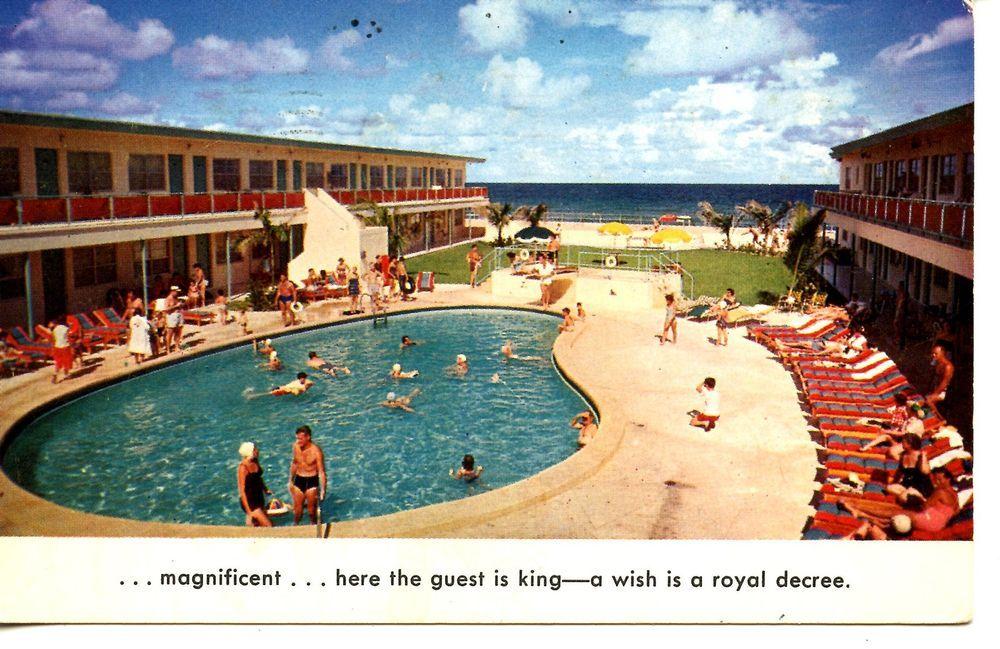 Monaco Resort Motel Swim Pool Miami Beach Florida Vintage Advertising Postcard