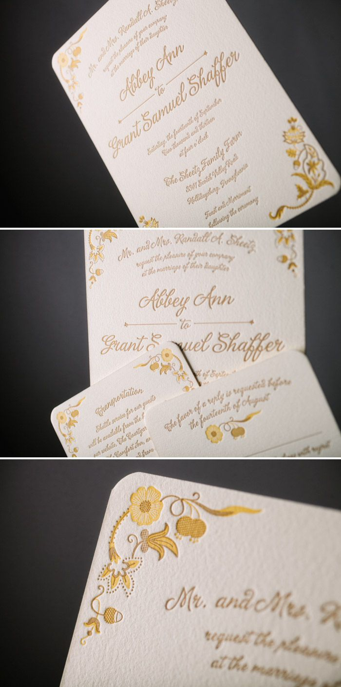 Classic Black Letterpress Wedding Invitations Featuring Hand