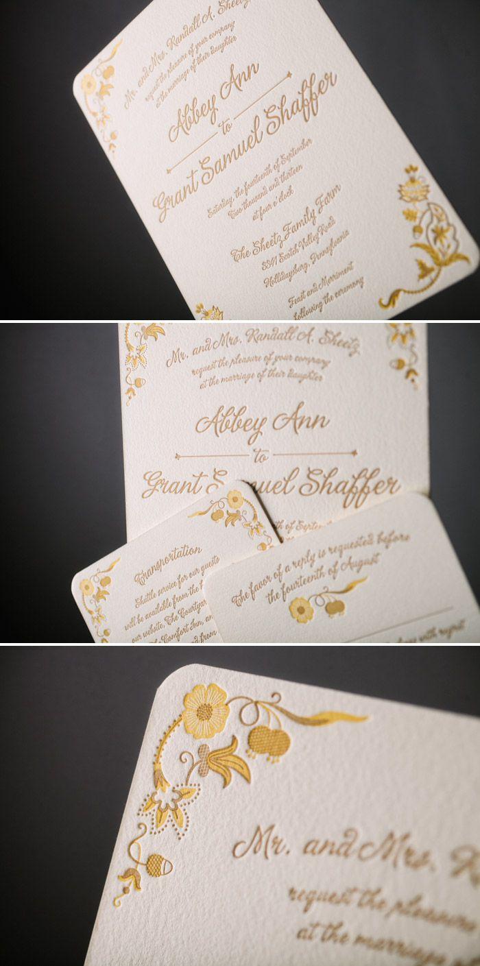 Folk Art Inspired Letterpress Wedding Invitations Bella Figura