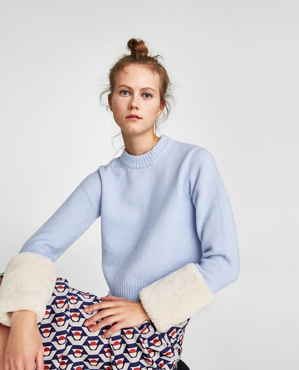 Tops With Fur Cuffs: SWEATER WITH FAUX FUR CUFFS-View All-KNITWEAR-WOMAN