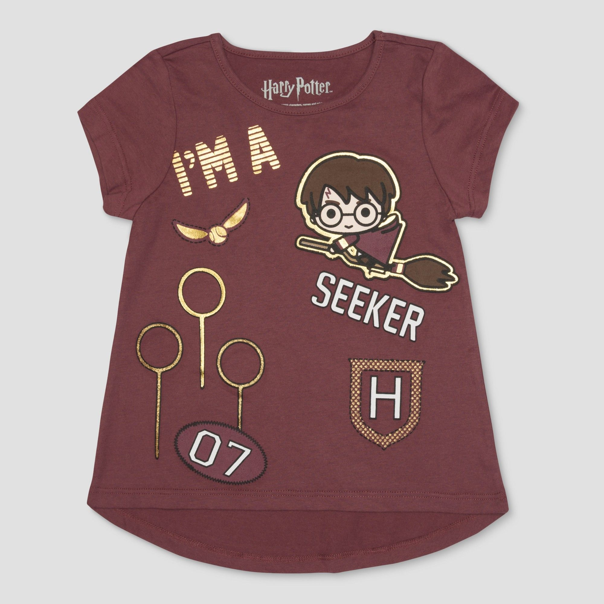 Petitetoddler Girls Harry Potter I M A Seeker Short Sleeve T Shirt Brown 12 M Girl S Size Medium Red Harry Potter Outfits Toddler Girl Harry Potter Shirts