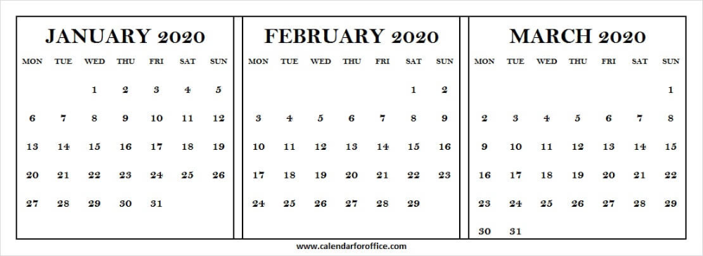 January To March 2020 Calendar Free printable calendar