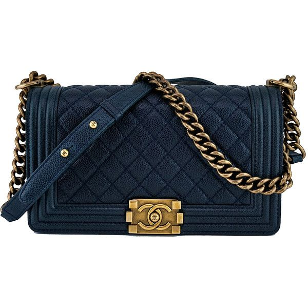 56d9e607a8d0ca Pre-Owned Chanel Navy Blue Le Boy Classic Flap, Medium Caviar Bag ($5,099)  ❤ liked on Polyvore featuring bags, handbags, navy blue, long strap  handbags, ...