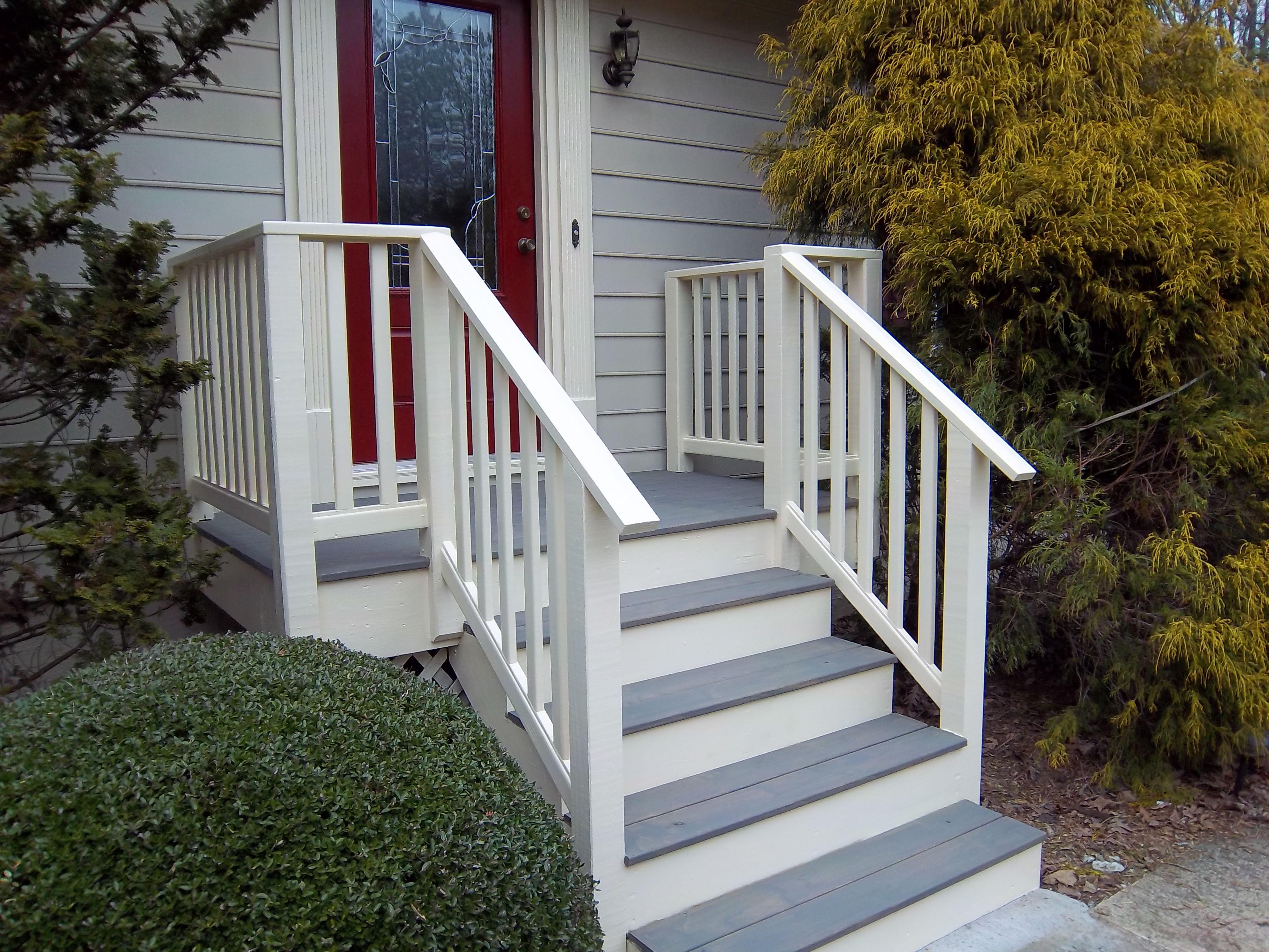 11 Best Deck Over Concrete Stoop Images Deck Over Concrete | Wood Railing On Concrete Steps | Stair Railing | Diy | Wooden | Railing Mode | Staircase