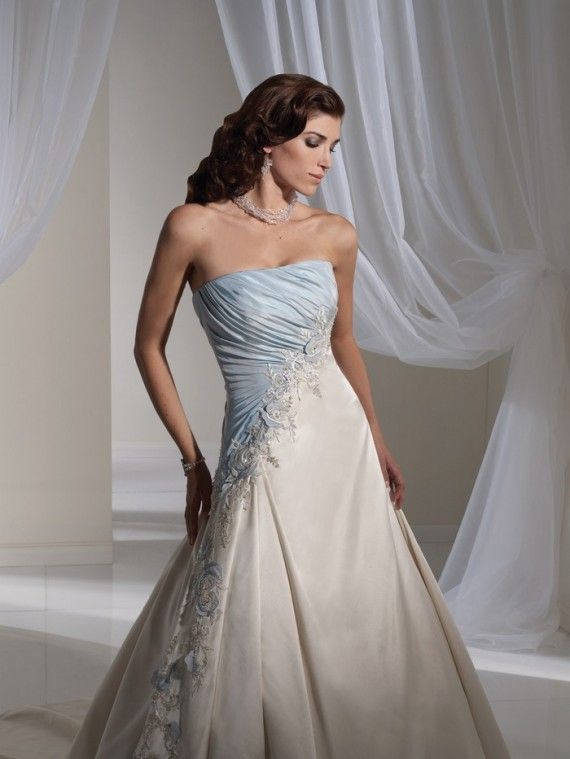 light blue and white combination wedding dress by sophia tolli 1