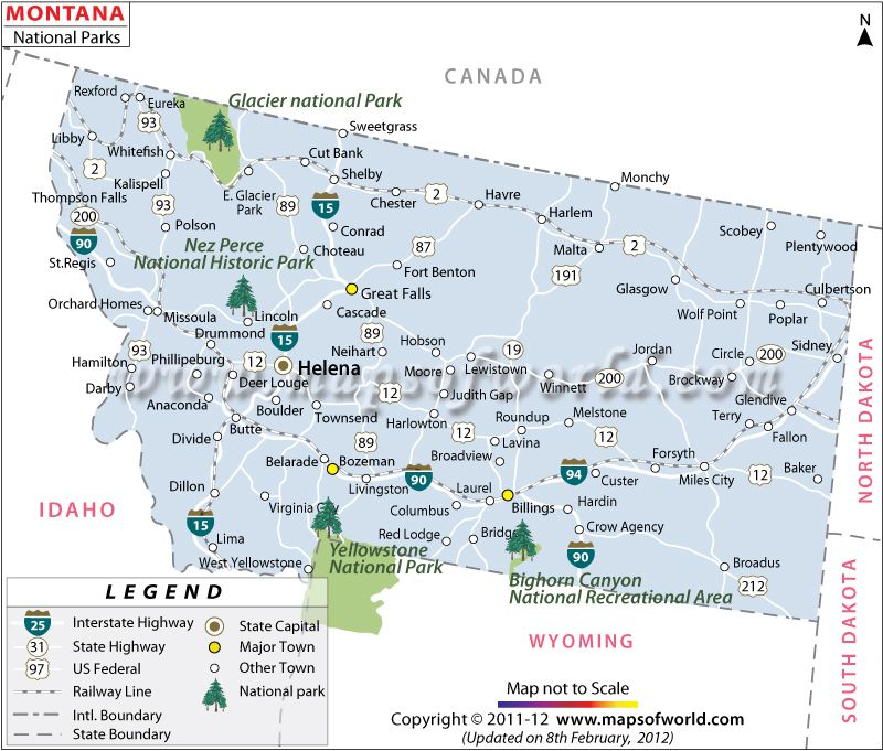 Map Of Us National Parks Montana National Parks Map Travel