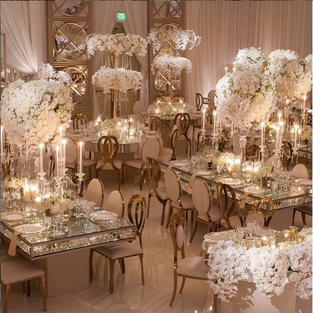 Gorgeous room shot white for Glass tables for wedding reception