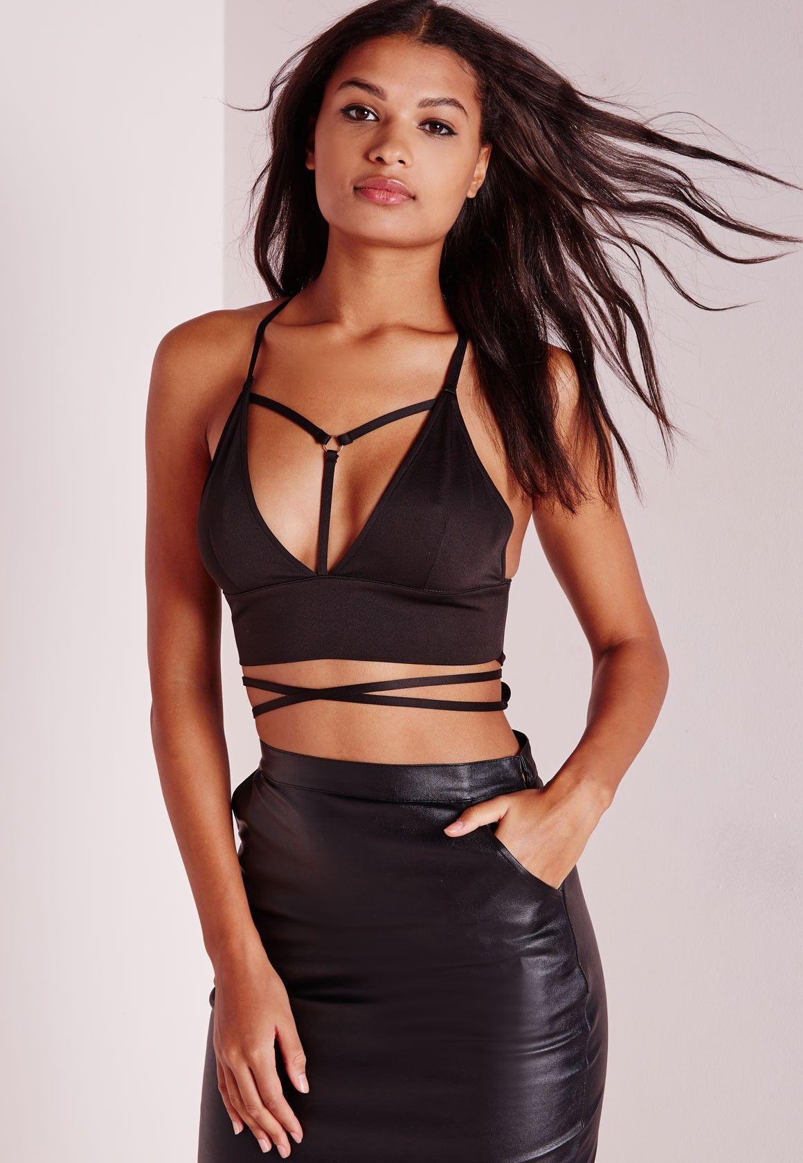 52a18c74b5 Missguided - Wrap Around Harness Bralet Black
