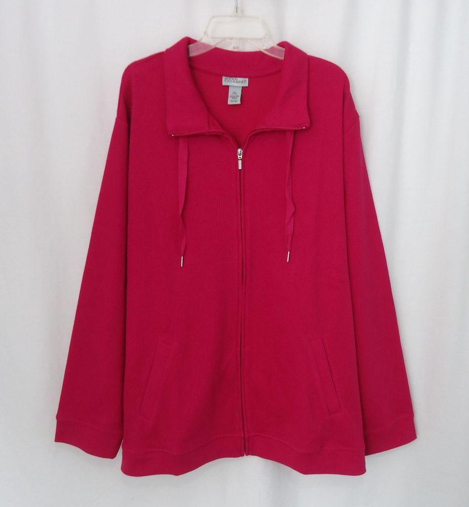 CATHERINES LIZ & ME New Womens Plus Pink Full Zip Tie Collar Jacket, SZ 5X 34/36 #CatherinesLizMe #BasicJacket