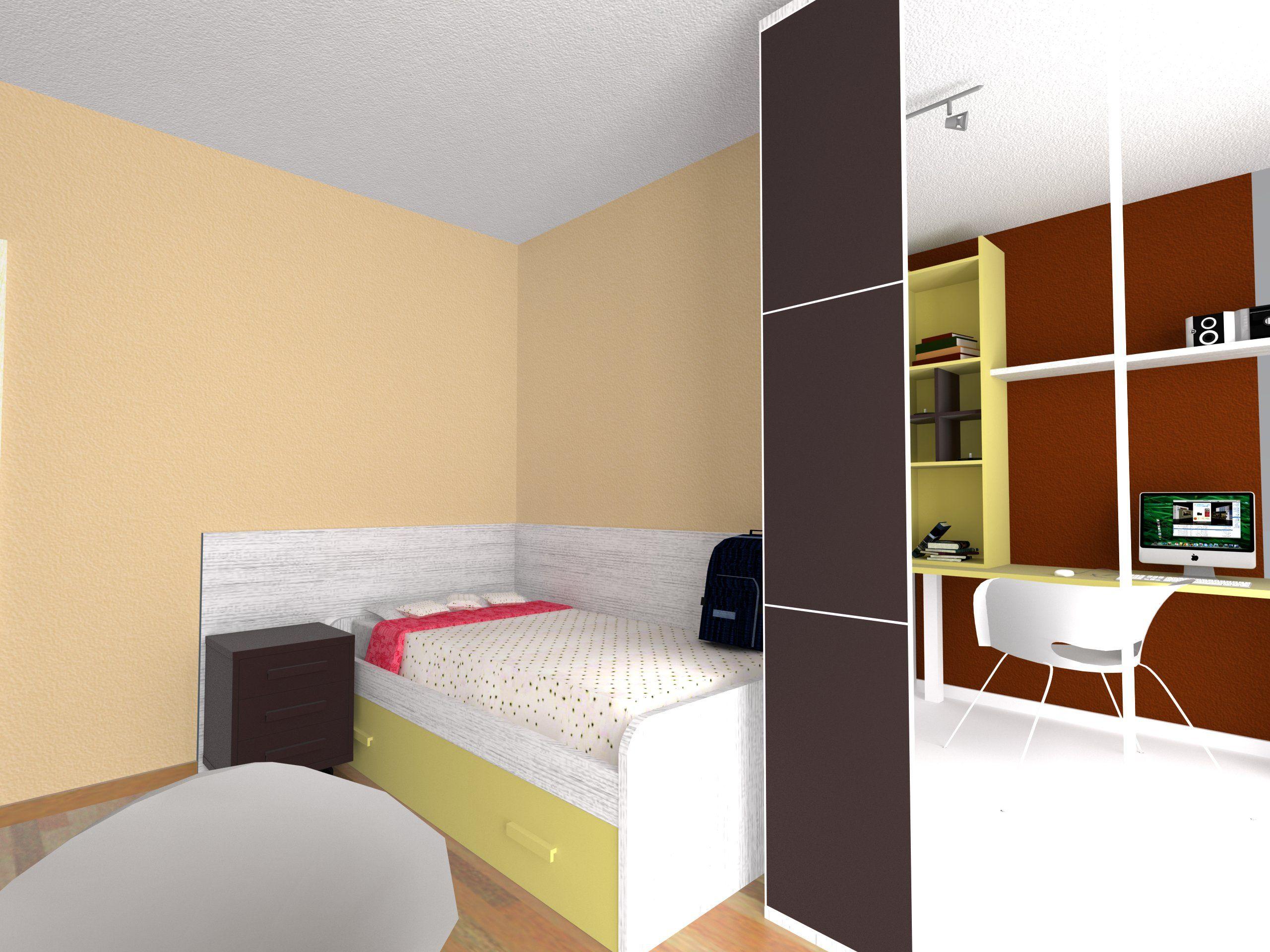 Dise o de habitaci n juvenil en color beig y moka for Programa diseno habitacion juvenil