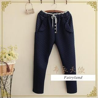 Buy 'Fairyland – Printed Trim Button Accent Sweatpants' with Free International Shipping at YesStyle.com. Browse and shop for thousands of Asian fashion items from China and more!