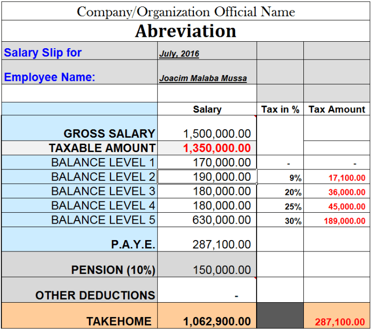 Tanzania Paye And Pension Salary Calculation Sample   Home