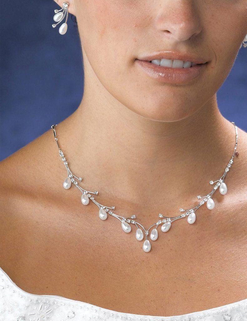 Pearl Drop Necklace & Earrings Set   Pearl jewelry wedding, Drop ...
