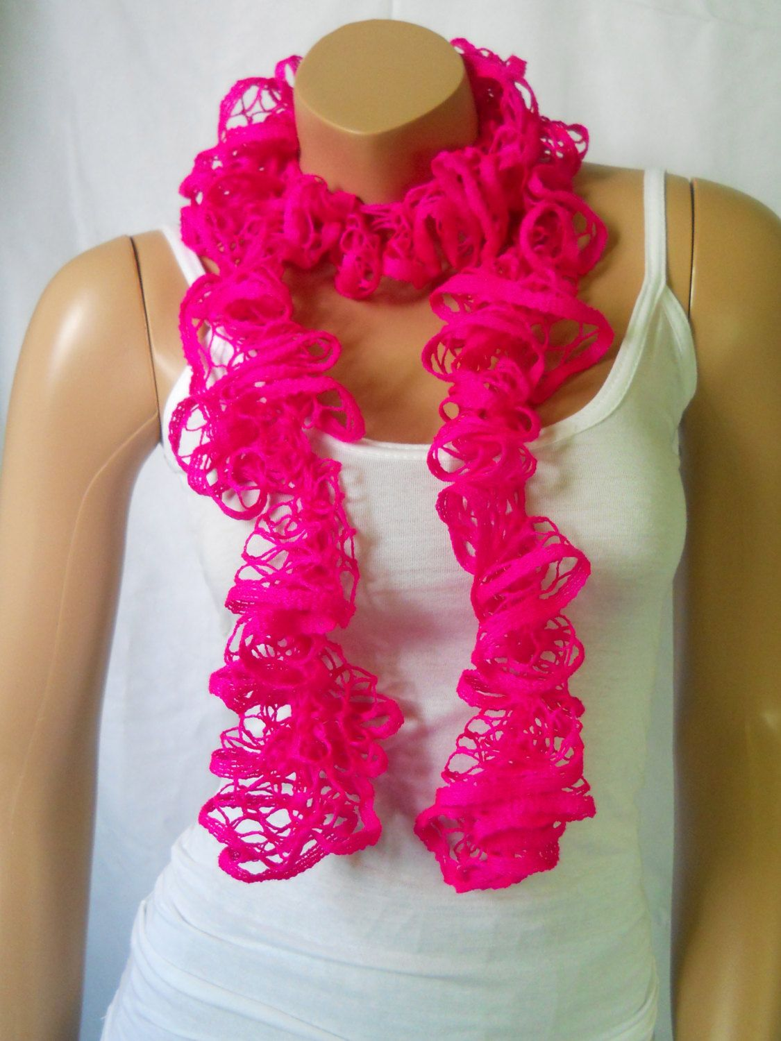 The Neon Pink ruffle scarf,womens scarf,fashion accessories,spring trend,gift for her,new petite option, great for all teens,girls,adults by HappyTygerApparel on Etsy