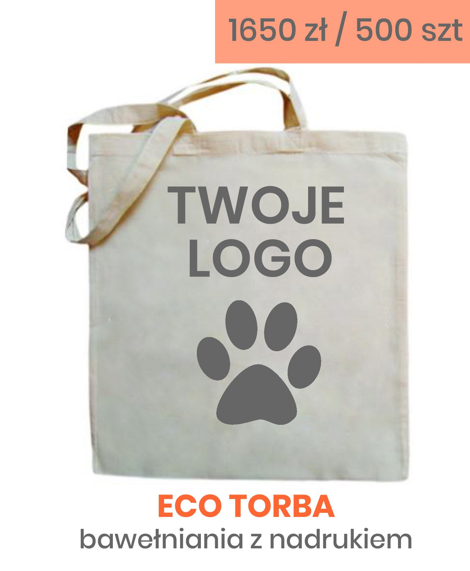 Torby Bawelniane Nadruk 1 Kolor 500 Szt Torba Torby