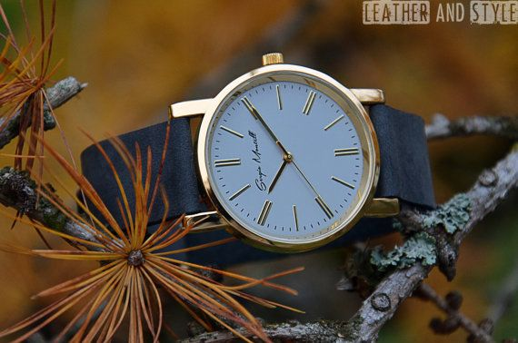 Leather watch Mens watch Womens watch Birthday by LeatherAndStyle
