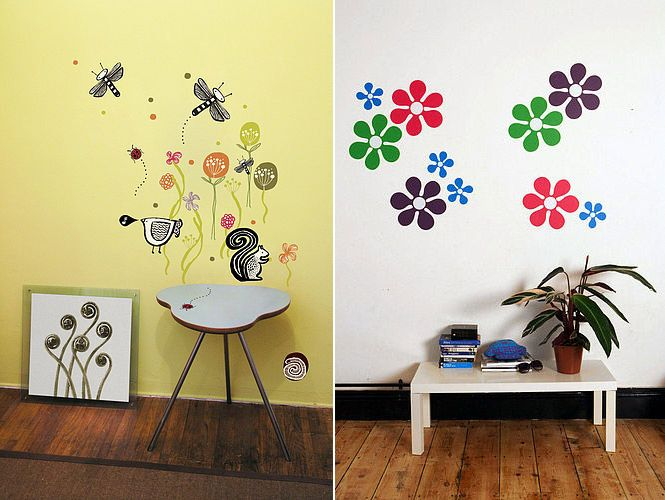 Wall Designs Stickers flower nature wall stickers kid wall stickers | bedroom design