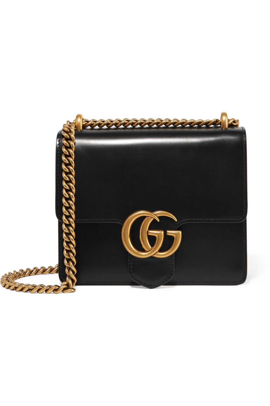 2258119f2d1072 GUCCI GG Marmont mini leather shoulder bag Black leather (Calf) Push  lock-fastening front flap Comes with dust bag Weighs approximately 1.1lbs/  0.5kg Made ...